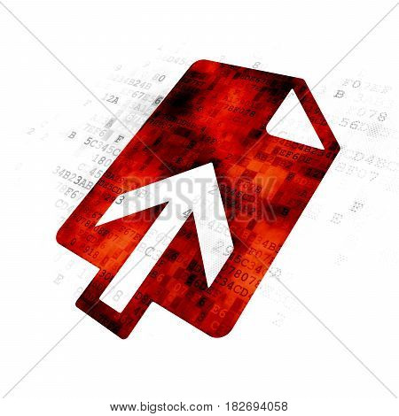 Web development concept: Pixelated red Upload icon on Digital background