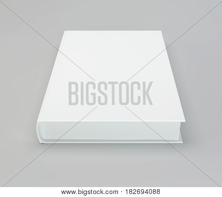 Blank hardcover book for design on gray background. 3d rendering.