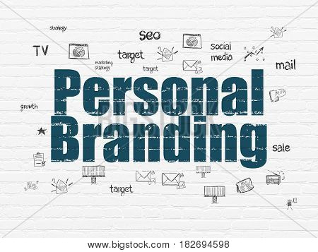 Advertising concept: Painted blue text Personal Branding on White Brick wall background with  Hand Drawn Marketing Icons