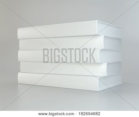 Stack realistic of books on gray background. 3d rendering