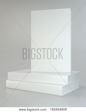 white realistic of books on gray background. 3d rendering