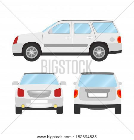 Car vector template on white background. Sport Utility Vehicle isolated. flat style, business design, white Sport Utility Vehicle crossover car.