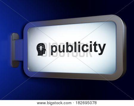 Advertising concept: Publicity and Head With Light Bulb on advertising billboard background, 3D rendering
