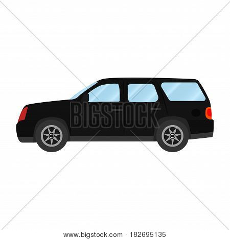 Car vector template on white background. Sport Utility Vehicle isolated. flat style, business design, black Sport Utility Vehicle crossover car in side view.
