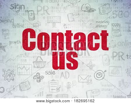 Advertising concept: Painted red text Contact Us on Digital Data Paper background with   Hand Drawn Marketing Icons