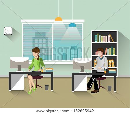 people work in the office. Vector illustration. open space office building with working people.