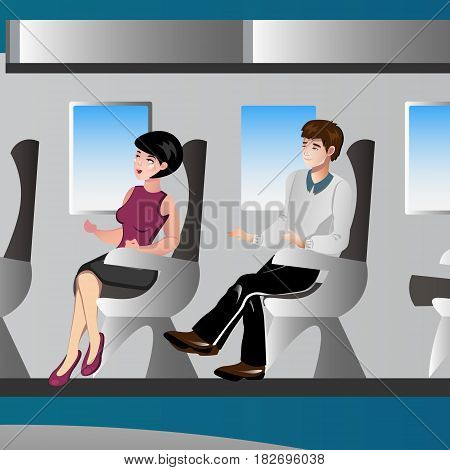 Passengers in airplane. Vector illustration. Man and woman on the plane