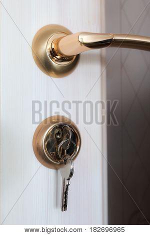 Door lock with keys installed in the door