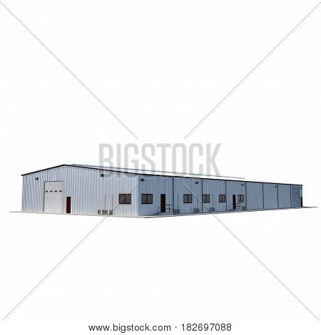 Warehouse building on white background. 3D illustration