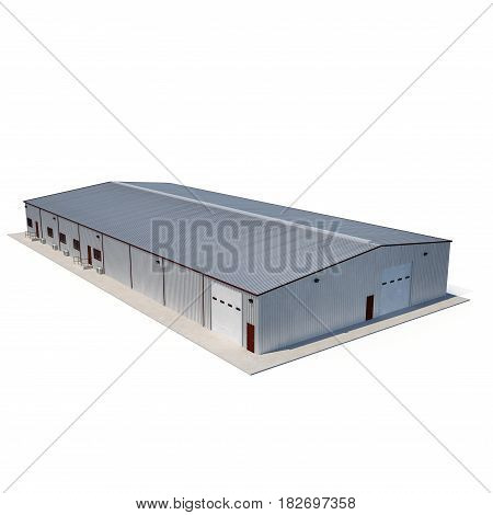 Metal Warehouse Building on white background. 3D illustration