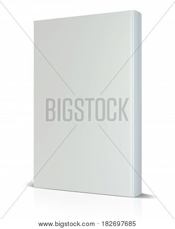 Front view of blank book cover white isolated on white background. 3d rendering.