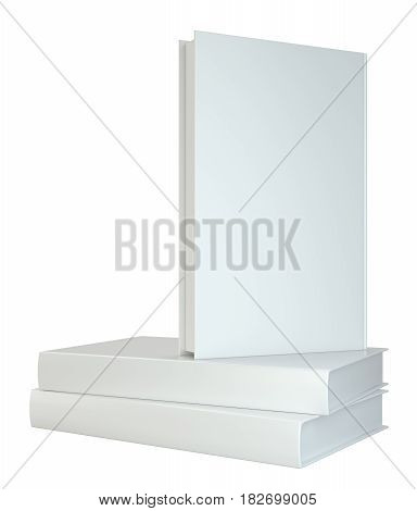 white books isolated on white background. 3d rendering.