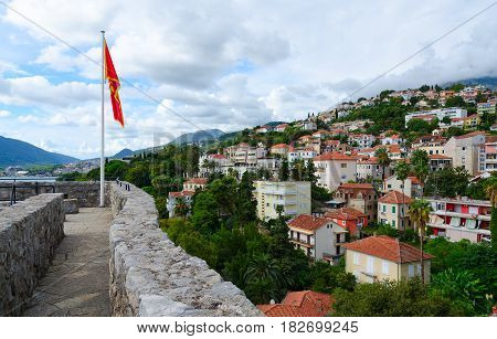 HERCEG NOVI MONTENEGRO - SEPTEMBER 25 2015: Beautiful view of popular resort town of Herceg Novi from wall of Forte Mare Montenegro