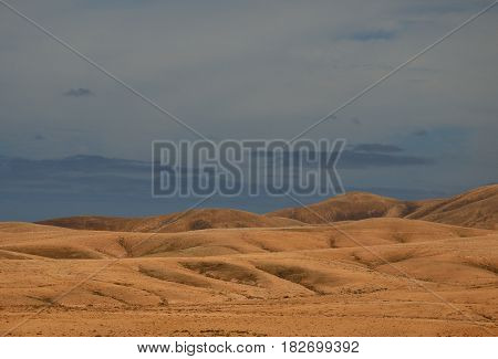 Arid landscape, mountains of Fuerteventura, Canary islands