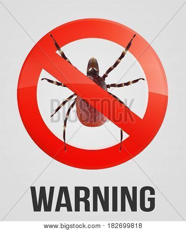 Mite in a forbid sign circle on the white background vector illustration.