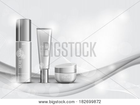 Skin moisturizer cosmetic ads template with gray realistic packages and containers on shiny wavy dynamic light lines background. Vector illustration
