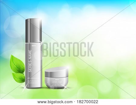 Beauty cosmetic ads template with skin moisturizer gray realistic packages on light blurred shiny background. Vector illustration