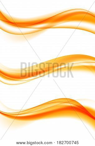 Abstract elegant curved wavy lines set in orange color and smooth soft clean bright dynamic style. Vector illustration