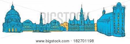 Copenhagen Denmark Colored Panorama