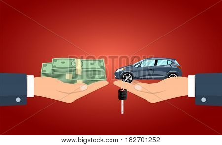 Hand giving the cash to the hand with the car and keys vector illustration.