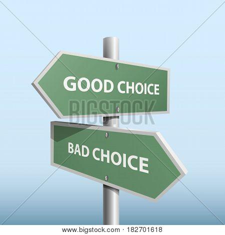 Column direction good bad choice . Vector illustration