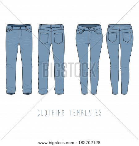 Male and female clothing set of blue jeans. Vector templates in front, back views for fashion design in urban style. Isolated on white background.