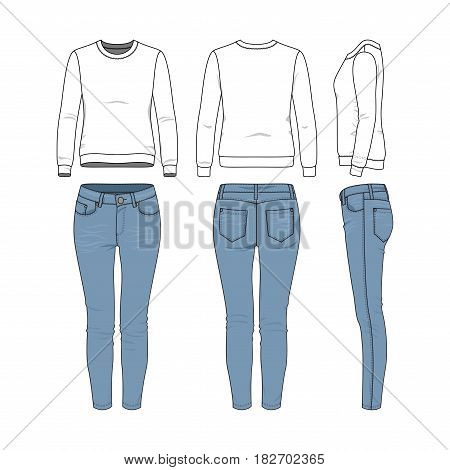 Vector illustration of female clothing set. White basic sweatshirt, jeans. Blank vector clothing templates for fashion design in modern urban or hipsters style. Isolated on white background.