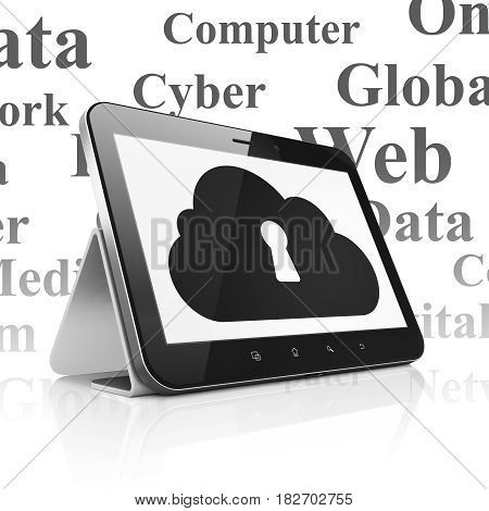 Cloud technology concept: Tablet Computer with  black Cloud With Keyhole icon on display,  Tag Cloud background, 3D rendering