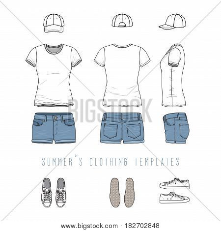 Vector illustration of female casual clothing set - white tee shirt, jeans shorts, baseball cap, footwear, sneakers. Blank vector templates in front, back, side views. Isolated on white background.