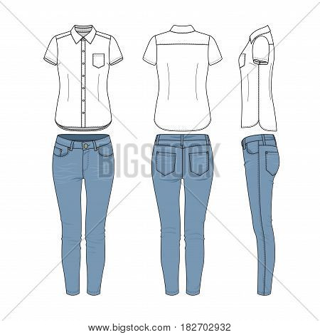 Female clothing set of white shirt and blue jeans. Vector templates in front, back, side views for fashion design. Isolated on white background.
