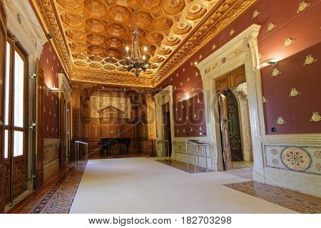 Sintra, Portugal, April 7, 2017 : A Room Of Quinta Da Regaleira Palace. The Property Consists Of A R