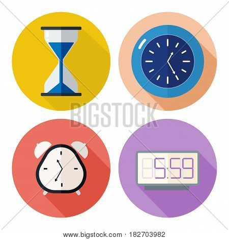 Set of time related icons clocks for your design