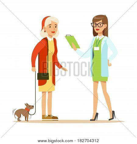 Smiling woman and her small dog at the veterinary clinic. Colorful cartoon character Illustration isolated on a white background