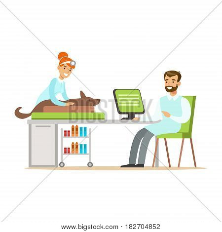 Smimling veterinarian examining dog in clinic. Colorful cartoon character Illustration isolated on a white background