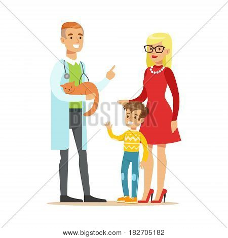 Smiling boy with his mother at the veterinary doctor with their cat. Colorful cartoon character Illustration isolated on a white background