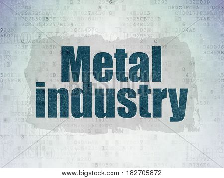 Manufacuring concept: Painted blue text Metal Industry on Digital Data Paper background with   Tag Cloud