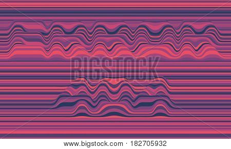 Error 404. Vector striped background. Abstract color waves. Sound wave oscillation. Funky curled lines. Elegant wavy texture. Surface distortion. Colorful violet background.