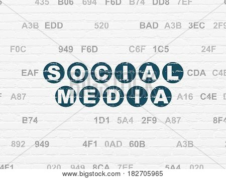 Social network concept: Painted blue text Social Media on White Brick wall background with Hexadecimal Code
