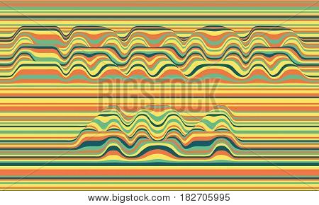 Error 404. Vector striped background. Abstract color waves. Sound wave oscillation. Funky curled lines. Elegant wavy texture. Surface distortion. Colorful background.