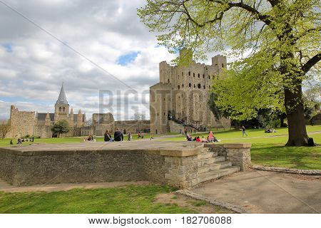 ROCHESTER, UK - APRIL 14, 2017: View of the Castle and the Cathedral from the Esplanade on the Castle Hill with Spring colors