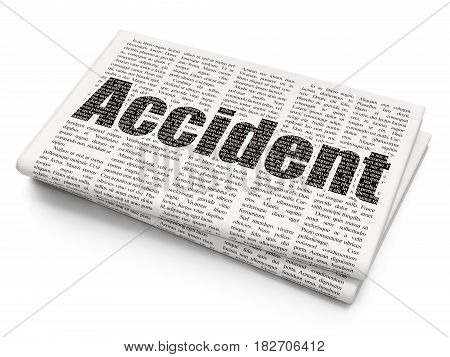 Insurance concept: Pixelated black text Accident on Newspaper background, 3D rendering