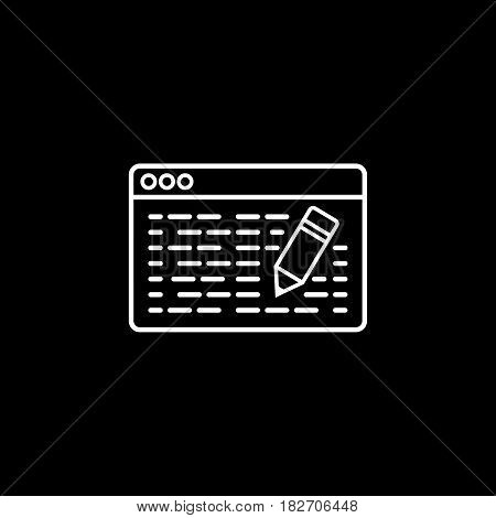 Seo copywriting line icon, seo and development, browser with pencil sign, a linear pattern on a black background, eps 10.