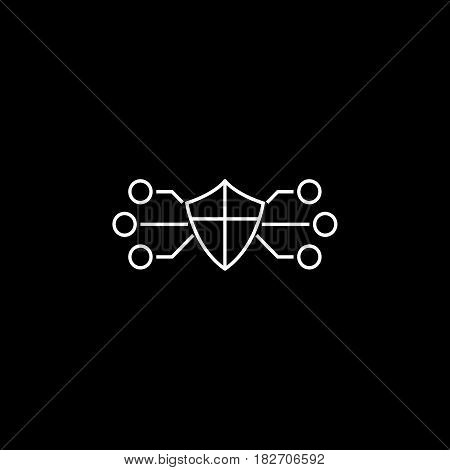 Network protection line icon, seo and development, security sign, a linear pattern on a black background, eps 10.