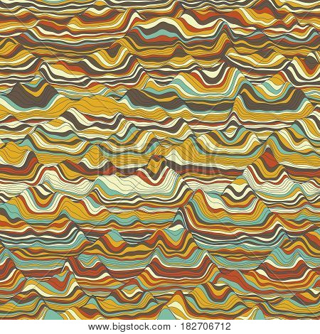 Vector striped background. Abstract color waves. Sound wave oscillation. Funky curled lines. Elegant wavy texture. Surface distortion. Colorful background.
