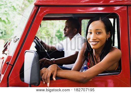 African couple in car