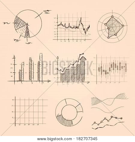 graphic and chart collection hand drawing sketch of pie, bar, and other kind of statistics information vector
