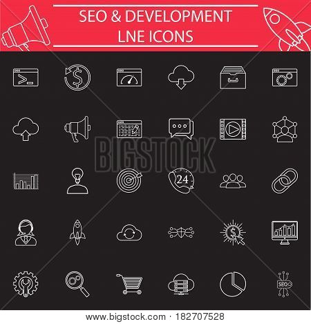 SEO and Development line pictograms package, marketing symbols collection, vector sketches, logo illustrations, Search Engine Optimization linear icon set isolated on white background, eps 10.
