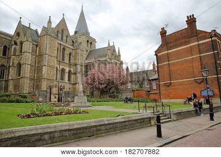 ROCHESTER, UK - APRIL 14, 2017: View of the Cathedral from High Street with Spring colors