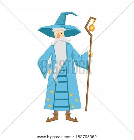 Magic old man with magic staff wearing in a blue robe and hat. Colorful fairy tale character Illustration isolated on a white background