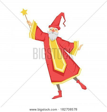 Wizard holding a wand. Colorful fairy tale character Illustration isolated on a white background